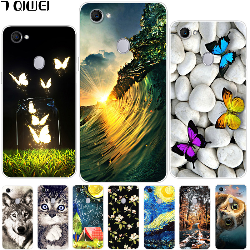 6.23\'\' For OPPO F7 F 7 Case Silicone Soft TPU Print Cover For OPPO F7 Case Cartoon Para For Oppo F7 Oppof7 7F Wolf Protective
