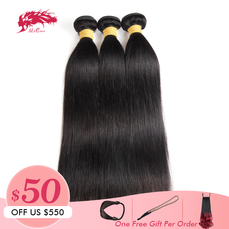 "Ali Queen Hair Products 3pcs Lot 10A Indian Virgin Hair Straight Human Hair Weave Bundles Natural Color 8""~24"" In Stock-in 3/4 Bundles from Hair Extensions & Wigs    1"