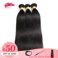Ali Queen Hair Products 3pcs Lot 10A Indian Virgin Hair Straight Human Hair Weave Bundles Natural Color 8~26 Free Shipping