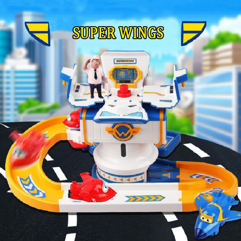 Cartoon Super Wing Control Center with AirPlane Toy Anime Transformation Collection Jouet Children Birthday Brinquedos Gift 15 cm jimbo super wings mini airplane abs robot toys action figures super wing transformation jet animation children kids gift