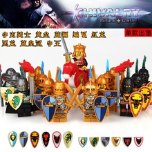 Single Medieval Warrior Castle Blue King Knight Heavy Shield Weapons Sword s Building Blocks Toys For Children(China)