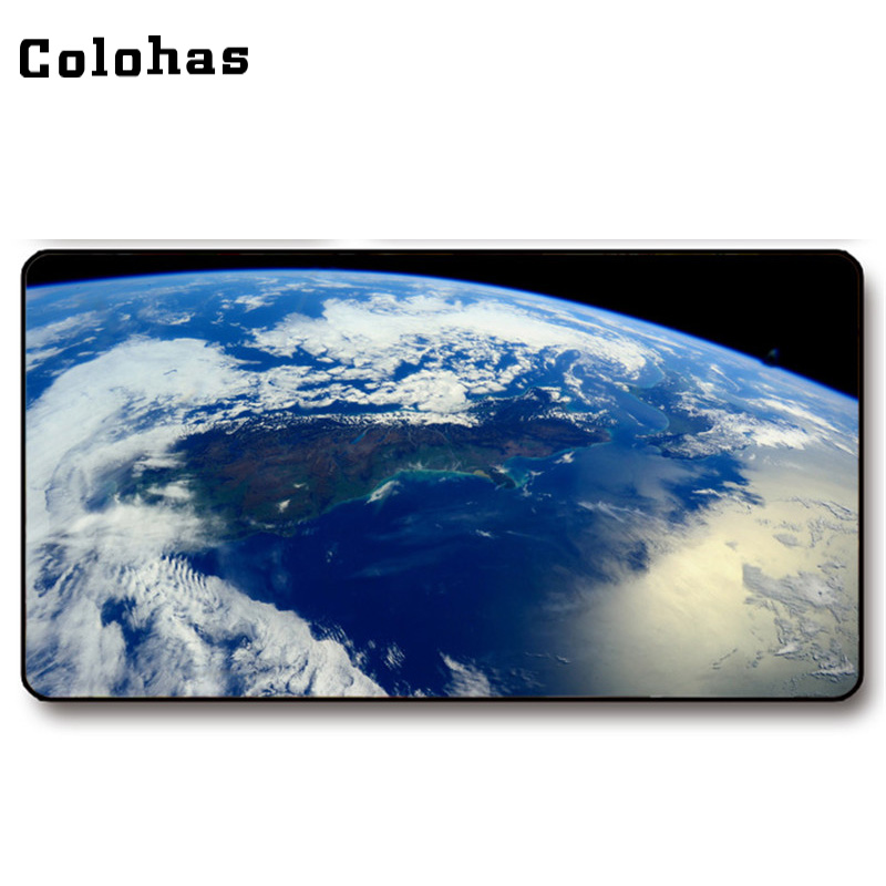 Colohas 2017 Beautiful Earth Pattern Rubber + Cloth Gamer Mouse Mat Big Size Unique Gaming Mouse Pad for Keyboard PC Computer image