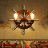 Vintage Industrial Wind Rudder Wood Wall Decorative Iron Lamp Bedside Lamp Wall Lamp Bar Aisle Of