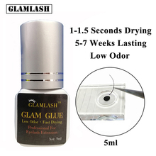 GLAMLASH 5/10ml Eyelash Extension Glue Suppliers Adhesive 1 Sec Drying Time 9 Weeks Maximum Bond Individual For Professional Use