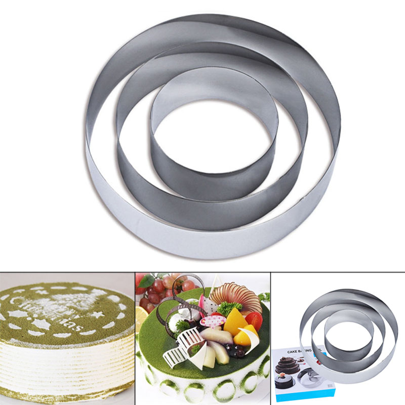 Newly 3pcs Stainless Steel Cookie Cutter Big Round Shape Cookie Mold Fondant Jelly Cake Mousse