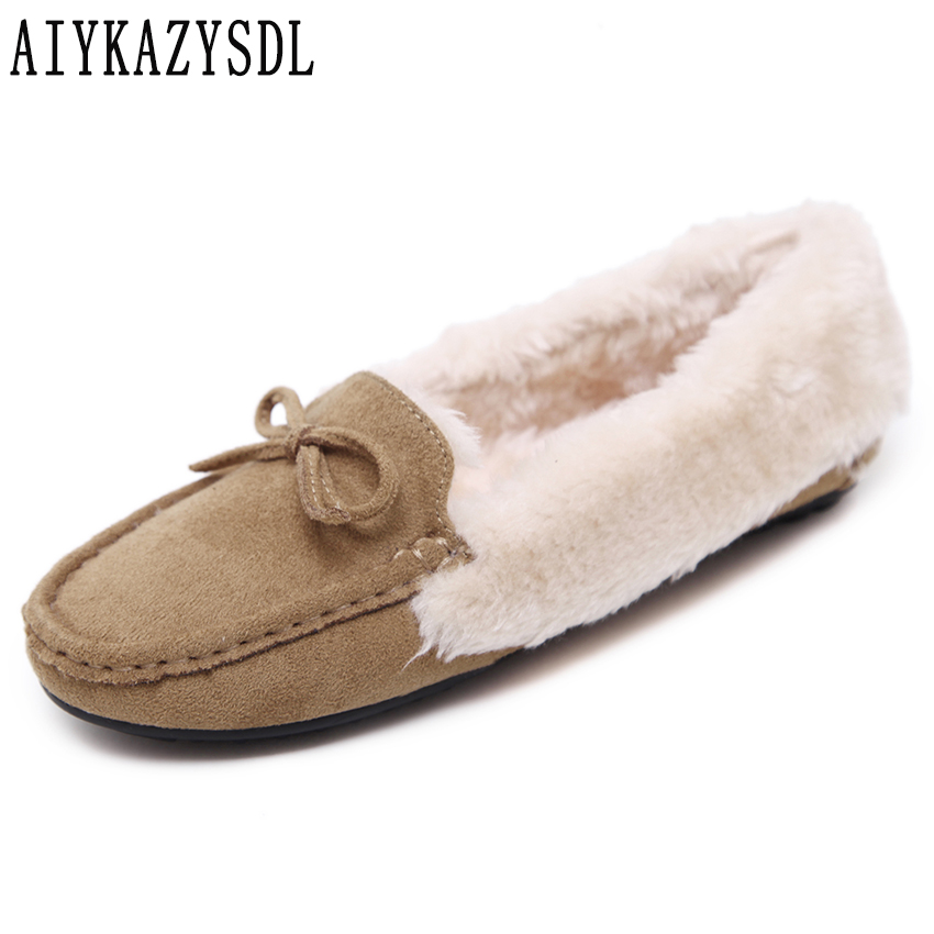 AIYKAZYSDL Women Warm Shoes Faux Fur Plush Furry Slip On Boat Shoes Loafers Bowtie Bow Knot Oxfords Winter Casual Flats 35-41 dropshipping women flats shoes slip on with fur pointed toe winter oxfords shoes for women loafers shoes plus size 41 42 43