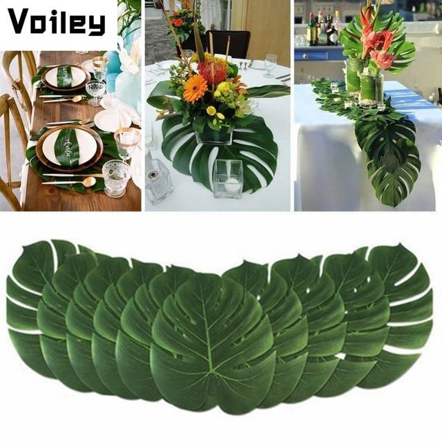빈티지 웨딩 장식 테이블 천으로 공급 12 개/몫 패브릭 녹색 인공 팜 잎 하와이 테마 파티 장식, Q