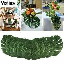 Vintage dekoracje ślubne obrusy 12 sztuk/partia tkaniny zielone sztuczne liście palmowe hawajski motyw dekoracje świąteczne, Q