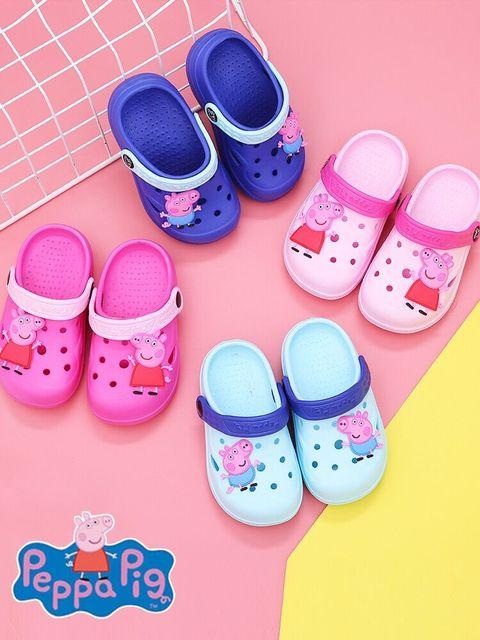 Лидер продаж 2019 г., детская обувь из натуральной кожи с изображением Свинки Пеппы, детские тапочки, летние домашние Нескользящие тапочки с рисунками из мультфильмов для мальчиков и девочек, PEPPA George