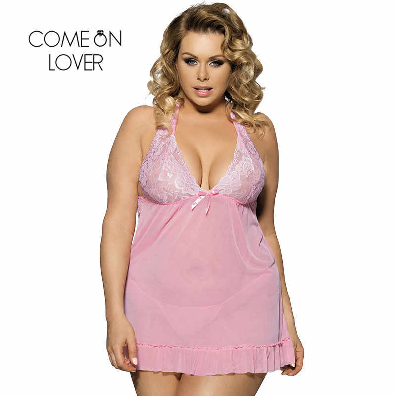 996f36d1dd Comeonlover Plus Size 7XL Nightgowns See-Through Sexy Nightdress Camison De  Dormir Halter Lace Romantic