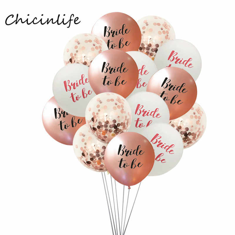 Chicinlife 15pcs Bride to be Miss to Mrs Balloons Rose Gold Confetti Balloons Bachelorette Party Decoration Wedding Decoration