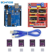 4pcs DRV8825 Stepper Motor Driver Heatsink + CNC Shield Expansion Board + UNO R3 Board USB Cable Kits for Arduino V3 3D Printer cnc shield expansion board v3 0 4pcs drv8825 stepper motor driver with heatsink with uno r3 board