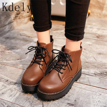 Ankle Boots Round toe Women Boots Lace Up Flat Biker Military Army Combat Black Shoes Woman botas mujer Martin motorcycle boot