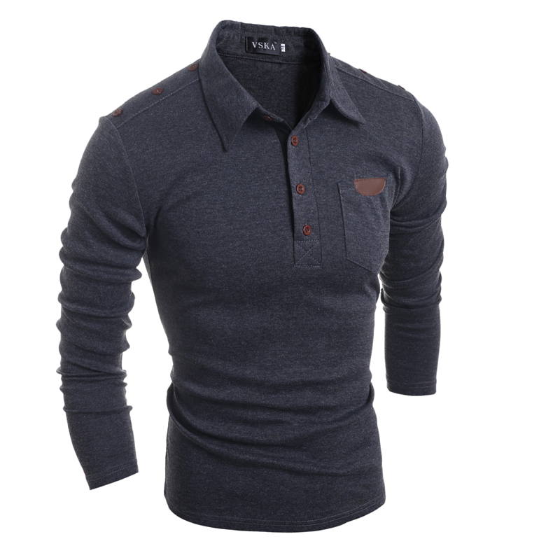 Mens <font><b>Polo</b></font> Shirt Brands 2018 Male Long Sleeve Fashion Casual Slim Pocket Skinning Button <font><b>Polos</b></font> Men Jerseys XXL