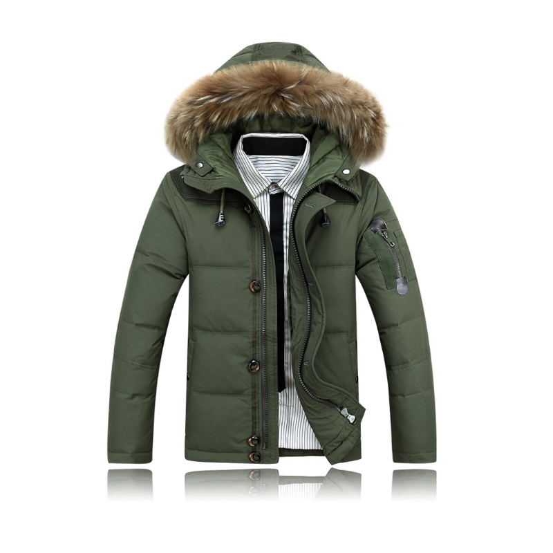 Men Jacket Warm Duck Down Coat Winter Outwear Fur Collar Thick Hooded Parka Down