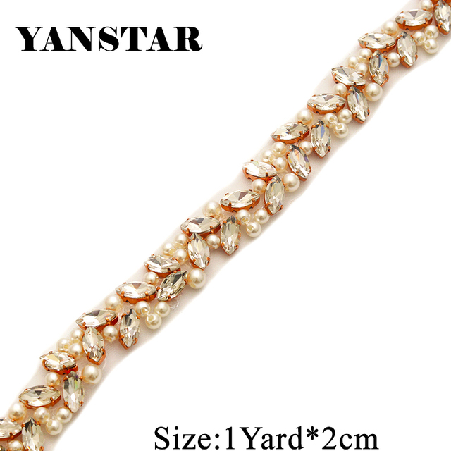 YANSTAR Bridal Pearls Wedding Dress Belts Rhinestones Appliques Trim By The 1  Yard  2cm For f1f436ac4620