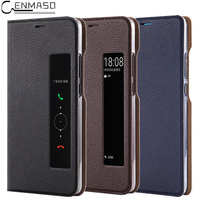Genuine Leather For Huawei P20 Pro Case Flip Cover Original Smart View Stand Protection Case For