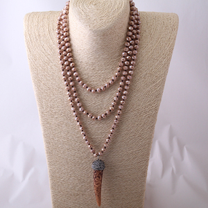 Модные украшения в богемном стиле, длинная повязка на голову с коричневым кристаллом Ox, ожерелье с подвеской в форме рога, бесплатная достав...