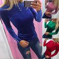 Fashion Women Sexy Long Sleeve  Casual  Loose Cotton Tops T Shirts