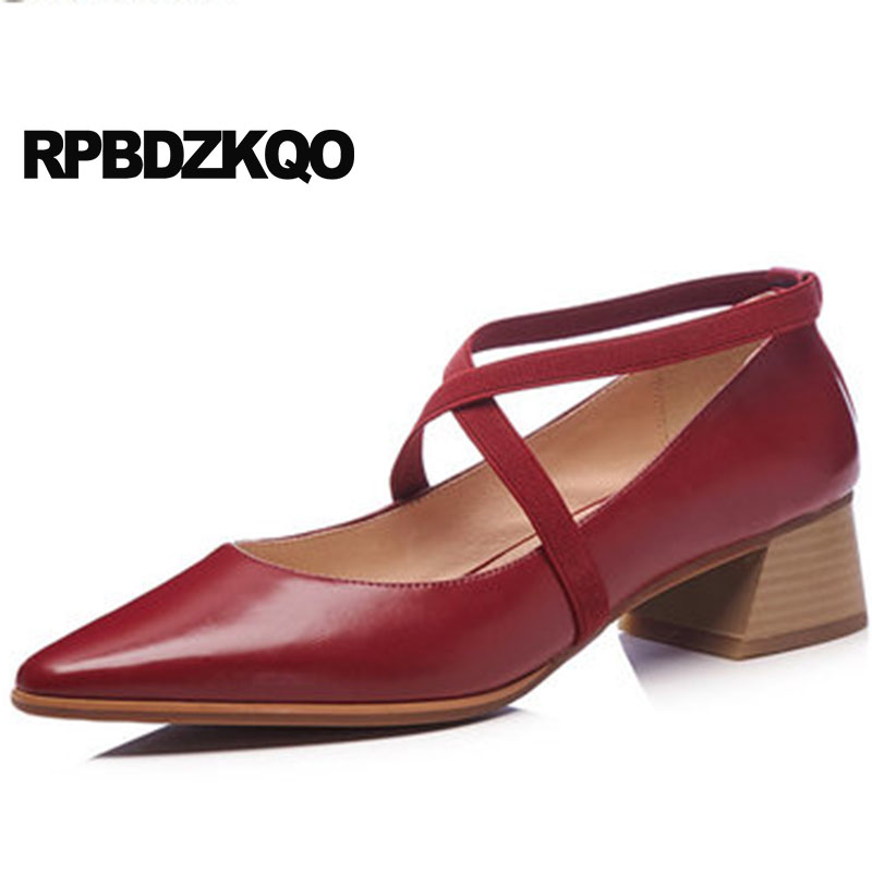 Wine Red Pointed Toe Size 4 34 Luxury Women Shoes Genuine Leather High Quality New 2018 Cross Strap Thick Retro 33 Medium Heels 2015 new drone dji inspire 1 spare control remote transmitter rc tx ems free shipping page 5 page 4