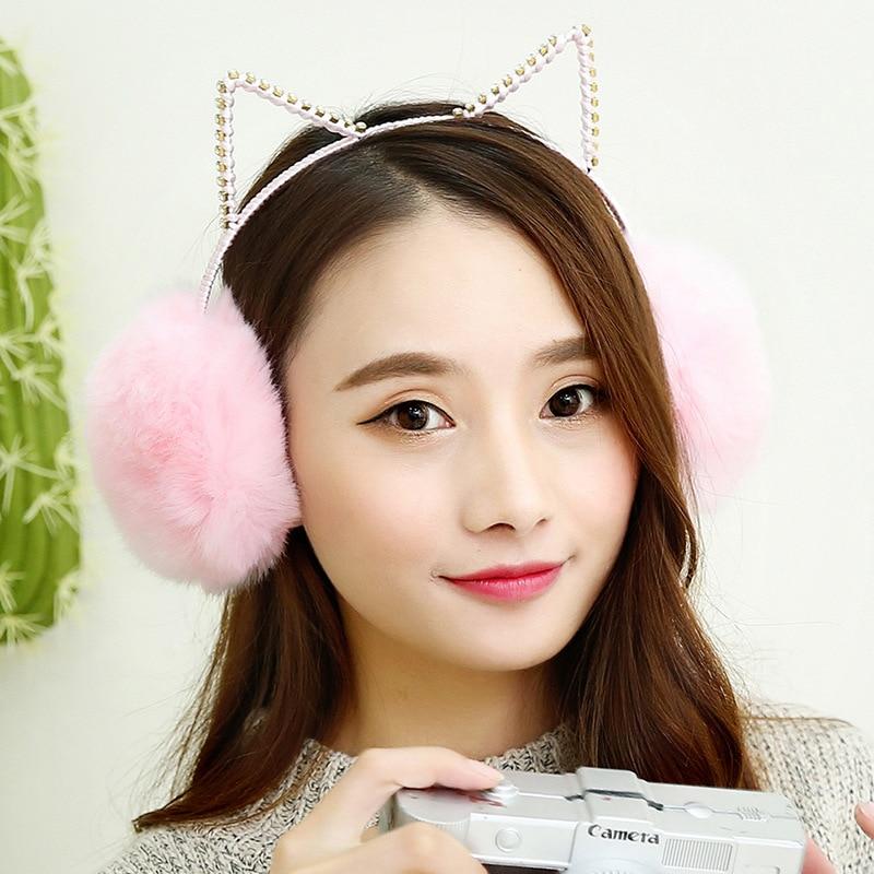 Women Plush Fur Cute Cat Earmuffs Winter Warm Girl Solid Ear Covered 2 In 1 Cats Hairbands Rhinestone Ear Muffs