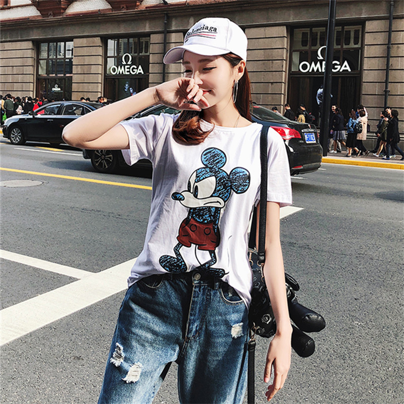 2019 Summer New Women's T-shirt Fashion Casual Mickey Mouse Printing Round Neck Short Sleeve Loose Female Tshirts 3