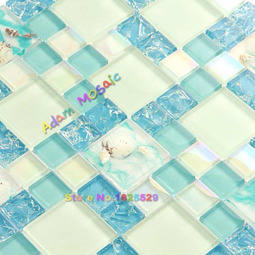 Home Improvement Glass Mosaic Tile Blue And White Backsplash Resin ...
