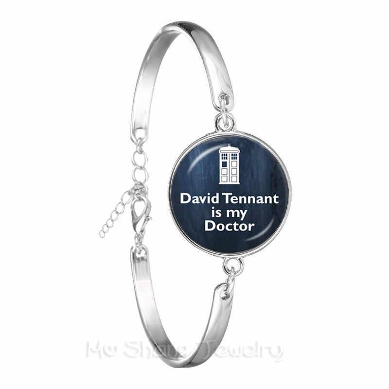 Para As Mulheres Homens Doctor Who Tardis Moda Novidade Vidro de Prata Banhado A Pulseira Cadeia Melhor Presente Para Amigos