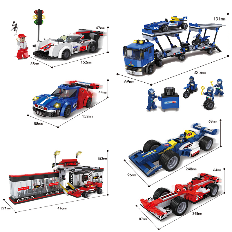 racing car Series Building Blocks F1 Track repair station Car DIY Bricks Educational Toys for Children Boys Cool Gifts on stock new super thomas small train electric track car boy puzzle large car racing for children s christmas gift kids toys