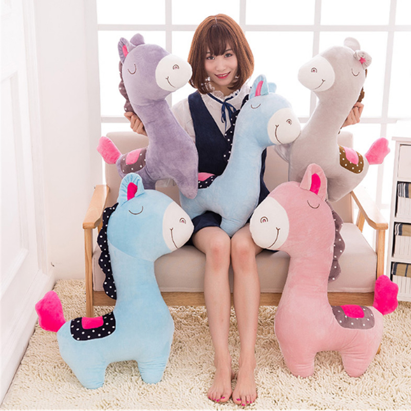 Fancytrader 100cm Giant Cute Soft Animal Horse Plush Pillow 39'' Big Stuffed Cartoon Horse Toy Doll Baby Present