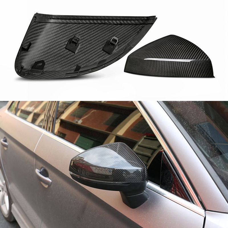For Audi RS3 A3 8V S3 Carbon Mirror Cover Rear View With & Without Lane Side Assist Replacement Gloss Black 2014-2017 2018 2019