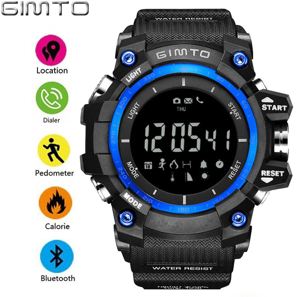 GIMTO Outdoor Sport Men Smart Watch Bluetooth Cool Shock Military Digital Electronics Male Watches Waterproof Pedometer Clock