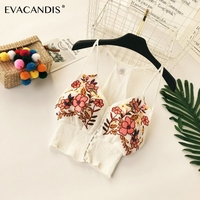 Embroidery Short Camisole Backless Sexy Boho Beach Bohemian Spaghetti Strap Tunic V Neck Ethnic Camis Summer Women Crop Top