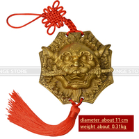 Chinese Fengshui The Bronze Beast Head Eight Lions Bite Sword Pendant Copper Lion Door Ornaments Home Decoration