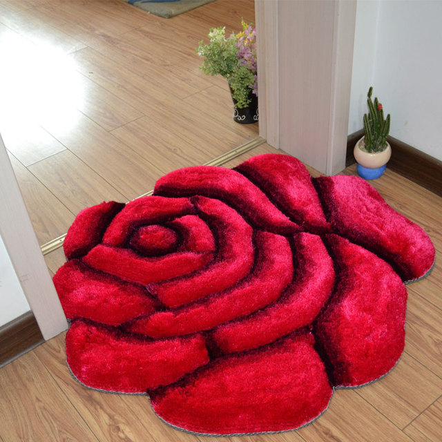 3D Printed Solid Flower Shape Bathroom Carpet Rugs 70*70cm Door Pad Floor Mat For Decor Wedding Bedroom Carpets Badmat tapetes