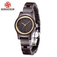 SIHAIXIN Black Lady Small Wooden Watch Simple Fashion Ladies Watches Quartz For Clock Woman Wood Creative