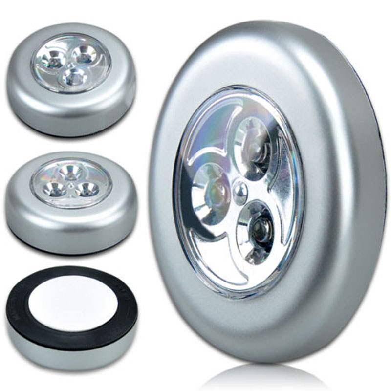 Mini Wall Car Kitchen Cabinet Light 3 LED Wireless Push Touchable Lamp Silver Car Interior Decor Dome Interior Light