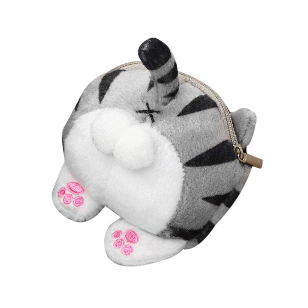 Xiniu cartoon Cute Cat Butt Tail Plush Coin Purse Change small women Purse coin Bag for girls