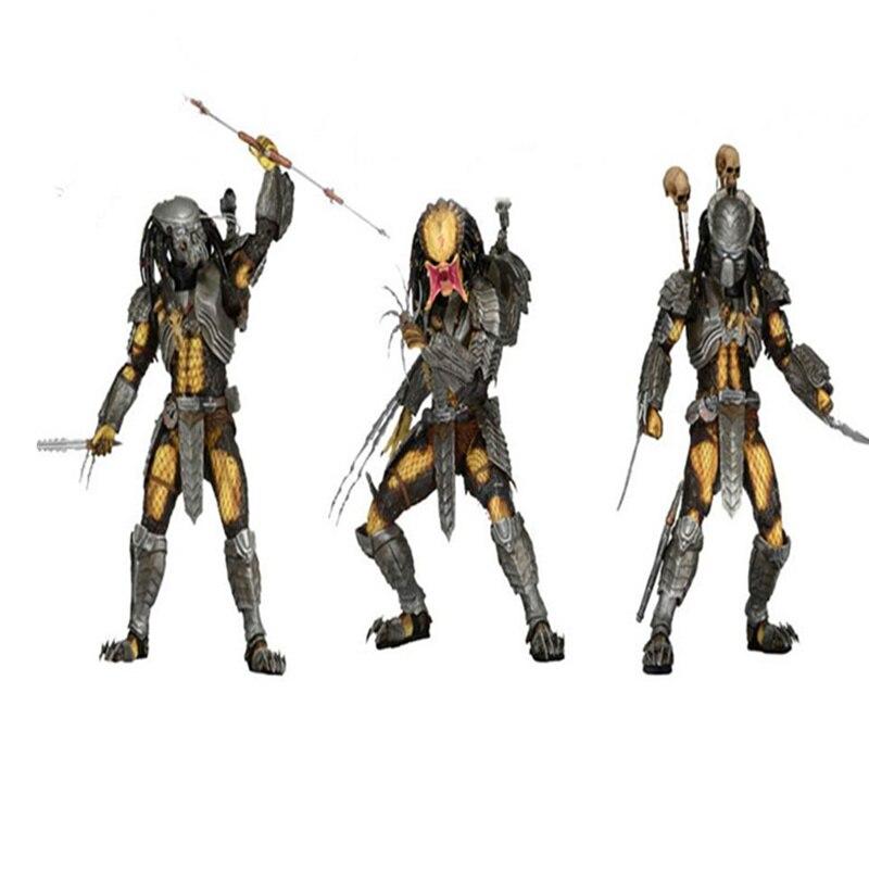 18 CM extraterrestres Vs prédateur chat visage cicatrice Action Figure PVC prédateur Statue Joints mobiles Ver modèle décoration jouet avec boîte H355