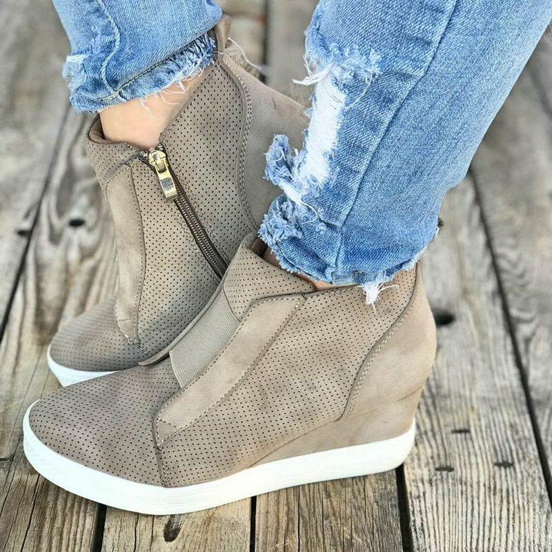 HEFLASHOR Casual-Shoes Platform Wedge-Side-Zipper High-Top Autumn Female Woman