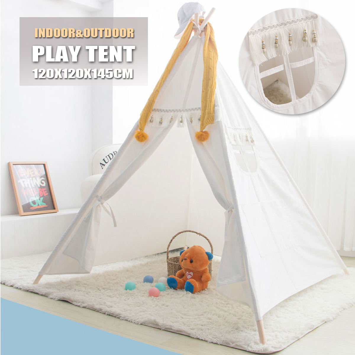 dog /cat Pet Tent Game House Cotton Indoor Toy House 4 Poles Kids Tent Babys Private Domain Cotton material 120x120x145cm