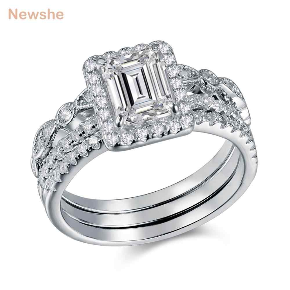 835ed4b64e2d0 Newshe 3 Pcs Wedding Ring Set Trendy Jewelry 2 Ct Princess Cut AAA CZ Solid  925 Sterling Silver Engagement Rings For Women
