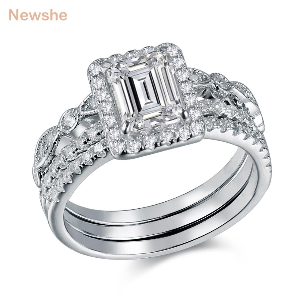 Newshe 3 Pcs Wedding Ring Set Trendy Jewelry 2 Ct Princess Cut AAA CZ Solid 925 Sterling Silver Engagement Rings For Women e570