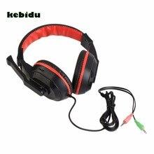 Kebidu novo fone de ouvido de jogo 3.5mm, ajustável, para computador e pc, estéreo, com microfone e cancelamento de ruído