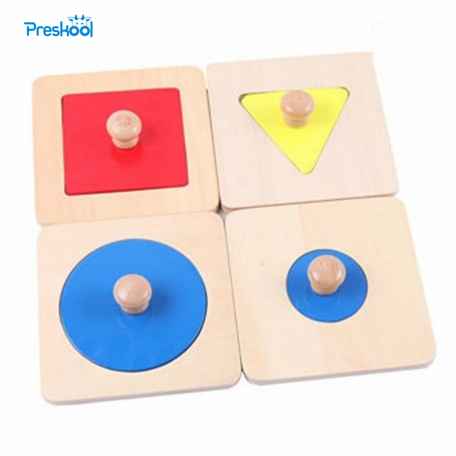 Montessori Kids Toy Baby Wood Shape Matching Puzzles Learning Educational Preschool Training Brinquedos Juguets new wooden baby toy montessori wood tri color cylinder insert box learning educational preschool training baby gifts