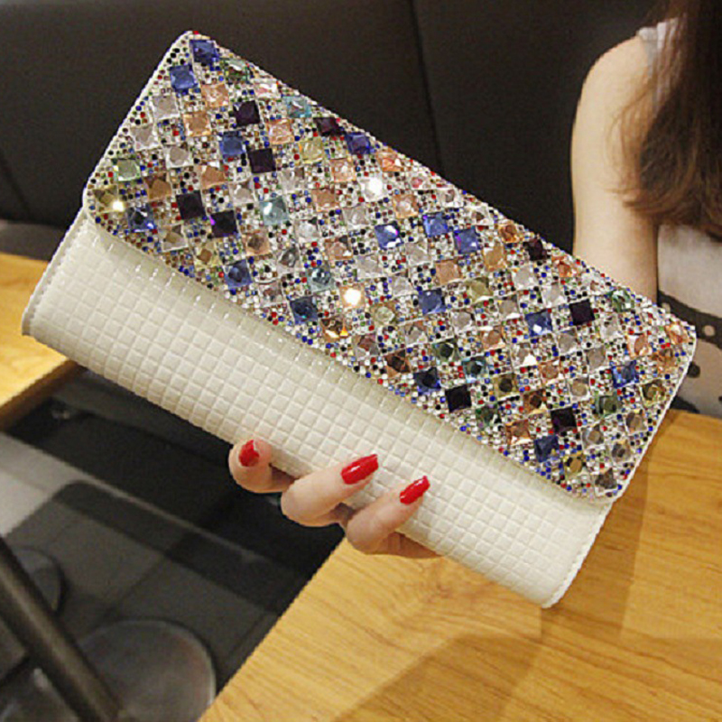 NEW 2019 Hot sale colours diamond design patent leather chain women bags,clutch bags,evening bags, bolsas 805