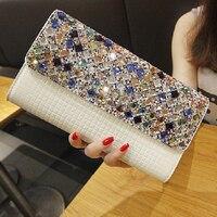 NUOVO 2018 vendita Calda colori del diamante disegno di brevetto catena di cuoio delle donne, sacchetti di frizione, sacchetti di sera, bolsas 805