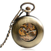 Bronze Pocket Watch Cool Automatic Mechanical Watch Chain Copper Retro Pendant Smooth Case Self Wind Men