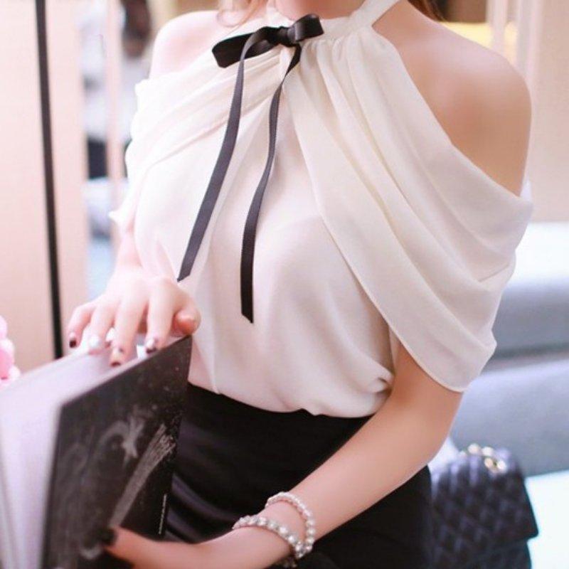 Camisa branca Mulheres Sexy Off Top Ombro Barra Pescoço Fino Envoltório Ver Através Blusa de Chiffon