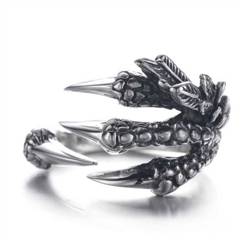 1PC Sale Punk Silver Men Women Ring metal Dragon Claws Size 8  9  10 Personality iker Rings Vintage Gothic Jewelry